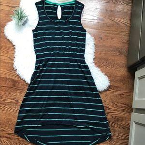 Icebreaker Merino wool striped hi-lo dress